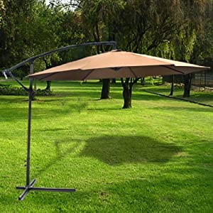 Deluxe Natural 10' Offset Patio Umbrella Off Set Outdoor Market Umbrella