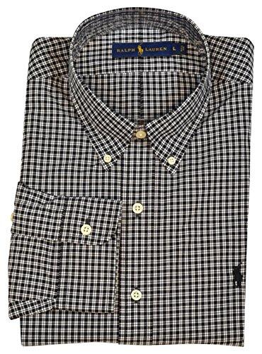 Polo Ralph Lauren Mens Classic Fit Button-Down Dress Shirt - Black/White - L (Polo Classic Fit Button Down compare prices)