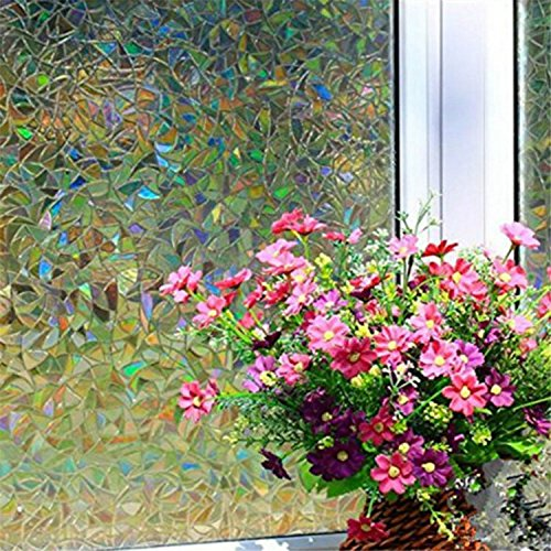 Yanqiao 3D Premium No-Glue Static Decorative Privacy Window Films,17.7x39.4inch.(45 x 100Cm) (Stained Glass French Doors compare prices)