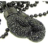 Men's Boxing Glove Necklace - Iced Out - Gunmetal Plated - Heavy Bling