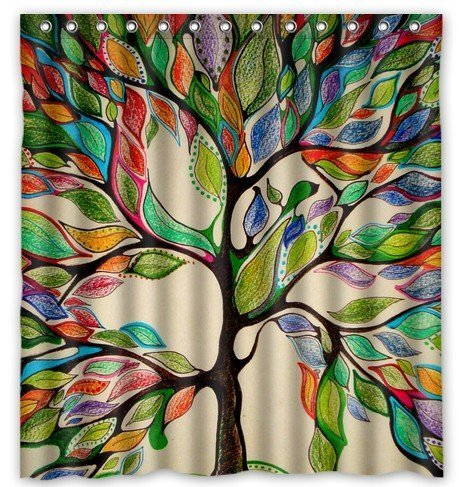 "Tree of Life Gorgeous Like Leather 66""(w) x 72""(h) Bath Shower Curtain"