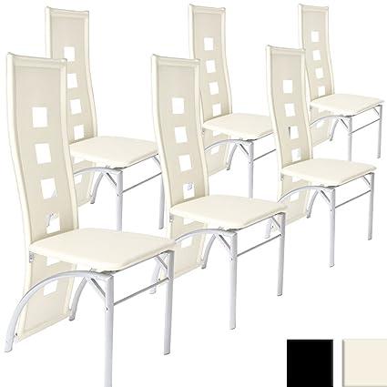 Miadomodo - Juego de 6 sillas de comedor de cuero sintético - Crema