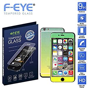 F-EYE® Tempered Glass iPhone 6, 6D Rainbow Colour, Front +Back Screen Protector, HD, Unique Method, Reduce Fingerprint, Anti-oil, Bubble Free Retina and HD Super compatible and high quality Ultra Slim & smooth touch, Thickness, High crystal clarity- explosion proof- anti scratch- protective glass 9H hardness, Easy To Install in your device(Apple iPhone 6)