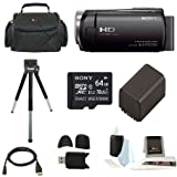 Sony HDR-CX455 Handycam Full HD 1080p Camcorder w/ Lithium Ion Battery & 64 GB Micro SD Card Bundle