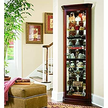 Beaumont Lane 8 Shelf Corner Cabinet in Victorian Cherry