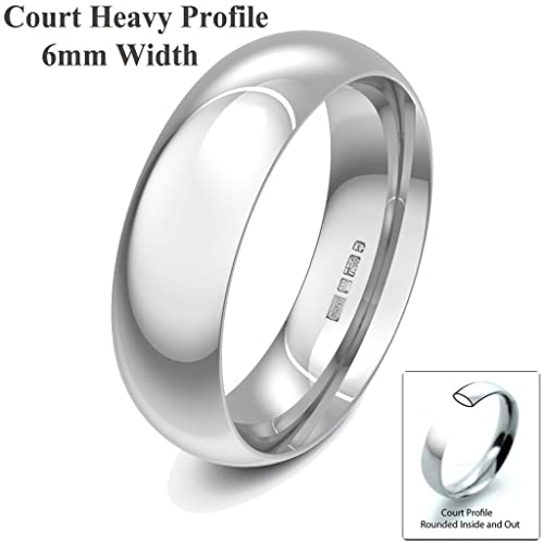 Xzara Jewellery - 18ct White 6mm Heavy Court Profile Hallmarked Ladies/Gents 9.1 Grams Wedding Ring Band