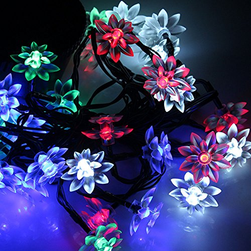 Solar Powered 30 Led 6.5M Multi-Color Lotus String Lights, Fairy Strings Lamp Lights, Waterproof Outdoor String Lamp Lights For Garden, Party, Patio, Lawn, Fence, Yard, Carnivals/ Christmas /Wedding /Indoor Decoration