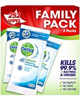 Dettol Antibacterial Cleansing Surface Wipes 252 Wipes - Large, Pack of 1 (Total 252 Wipes)