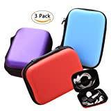 Earphone Carrying Case, Miniko(TM) [3 Pack] Portable Storage Hard Case Bag Holder Pouch for SD TF Card Earphone Headphone Earbuds iPod Bluetooth Headset and Charging Cable (Color: 3 Pack)