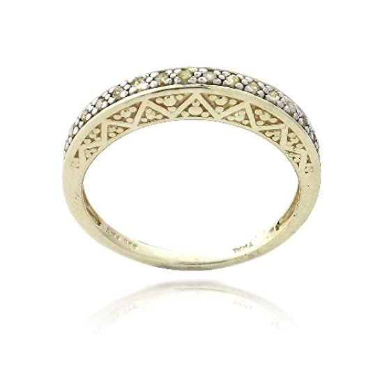 Gold Tone over Sterling Silver 1/6ct Yellow Diamond Semi-Eternity Band Ring