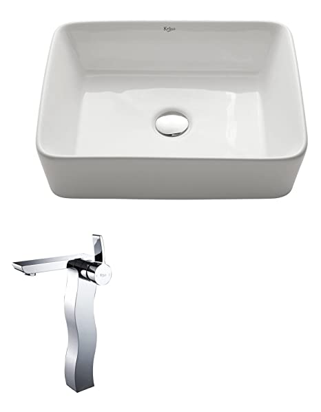 Kraus C-KCV-121-14600CH White Rectangular Ceramic Sink and Sonus Faucet Chrome