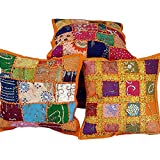 Ufc Mart Ethnic Colorful Handmade Cushion Cover Set, Color: Multi-Color, #Ufc00419