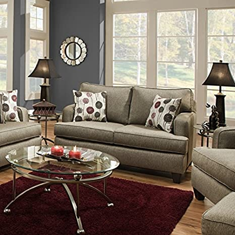 Chelsea Home Furniture Dandelion Loveseat, Luminous Pewter
