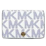 MICHAEL Michael Kors Medium Signature Saffiano Slim Wallet White Navy