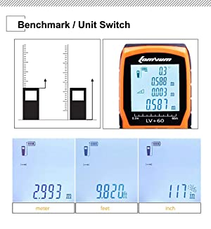 LOMVUM Laser Measure 393Ft Mute Laser Distance Meter with 2 Bubble Levels, LCD Backlit Display and Measure Distance, Area and Volume, Pythagorean Mode Battery Included (Color: Black&Orange, Tamaño: 393FT / 120M)
