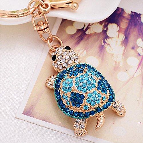 Turtle Keychain Sparkling Keyring Blingbling Crystal Rhinestones Purse Pendant Handbag Charm (Blue)