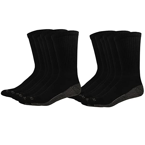 Size 12-15 Dickies Men/'s Big and Tall 5-Pack White Dry Comfort Crew work Socks