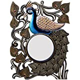 Divraya Wood Peacock Wall Mirror (45.72 Cm X 4 Cm X 60.96 Cm, DA115)