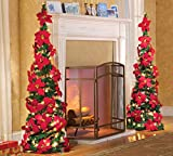 """Lighted Collapsible 52"""" Poinsettia Decorative Christmas Tree"""