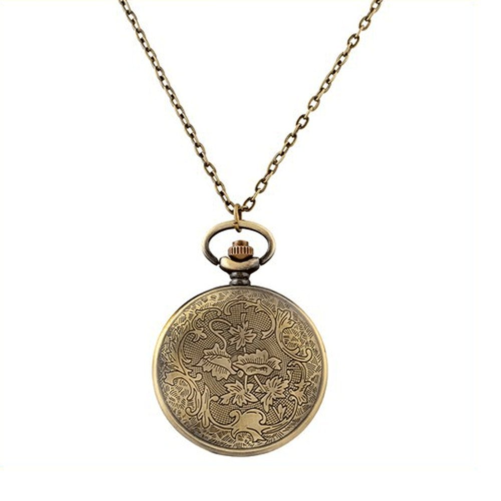 Mifine Antique Roman Pocket Watch Bronze Dial Open Faced Roman Numerals with Vintage Metal Rope 3