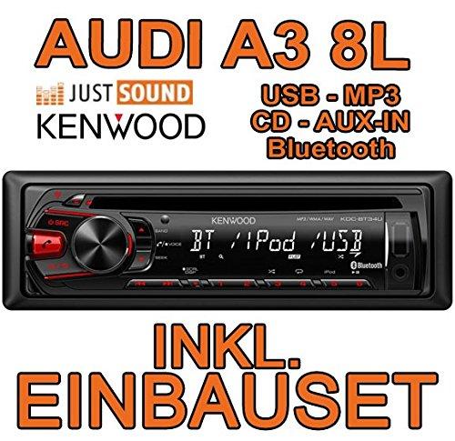 AUDI a3 8L kenwood kDC-bT34U-bluetooth/cD/mP3/uSB avec kit de montage