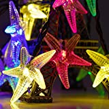 Solar Outdoor String Lights - Isightguard 20ft 30 LED Starfish Solar String Fairy Waterproof Christmas Lights Solar Powered String lights for Garden - Patio - Yard - Home - Christmas Tree - Parties (Multicolor)