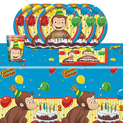 Curious-George-Childrens-Birthday-Complete-Party-Tableware-Pack-for-16