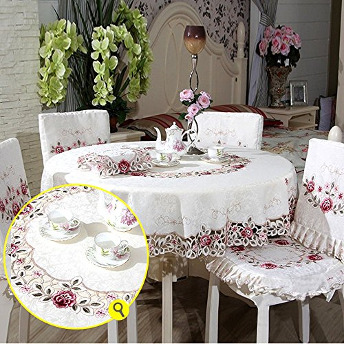 LeeVan Vintage Delicate Jacquard Hemstitch Spring Spring Floral Table Covers Embroidered Cutwork Tablecloth - Round,70 Inch (Vintage Floral Tablecloth compare prices)
