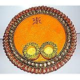 Designer Pooja Thali, Puja Thali, Pooja Thali Wood And Clay Work, Pooja Thali Sindoor Dani And Thali Ideal For... - B00NKP67S6