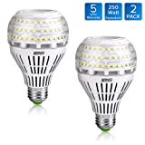 27W (250 Watt Equivalent) A21 Omni-directional Ceramic LED Light Bulbs, 3500 Lumens, 5000K Daylight, E26 Medium Screw Base Floodlight Bulb, Home Lighting, 5-year Warranty, Non-dimmable, SANSI (2 PACK)