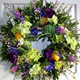 Lemons and Shades of Purple Flowers Handcrafted Dried and Preserved Floral Wreath (20-22 inch)