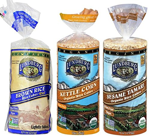 Lundberg Gluten-Free Vegan Non-GMO Rice Cakes 3 Flavor Variety Bundle: (1) Brown Lightly Salted, (1) Organic Kettle Corn, and (1) Organic Sesame Tamari, 9.5 Oz. Ea. (3 Total) (Rice Cakes Variety Pack compare prices)