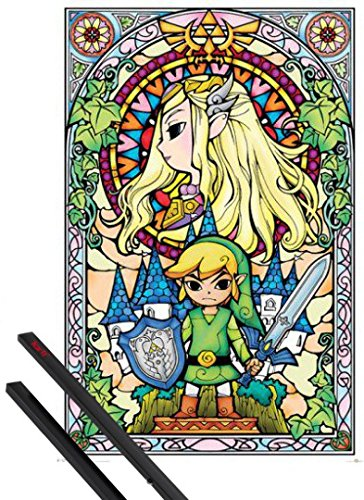 Poster + Sospensione : The Legend Of Zelda Poster Stampa (91x61 cm) Link e Coppia di barre porta poster nere 1art1®