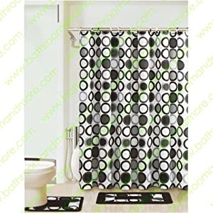 black white gray circles 15 piece bathroom set