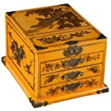 EXP Handmade 11-Inch Yellow Leather 3-Drawer Chinese Bird Jewelry Box with Fold Out Mirror