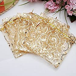 Tinksky 100pcs 7*9cm Cute Eyelash Pattern Drawstring Organza Wedding Favor Gift Bags Candy Bags Jewelry Pouches (Golden)
