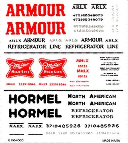 woodland-scenics-dry-transfer-decals-ho-scale-armour-miller-hormel-reefer-cars-by-woodland-scenics