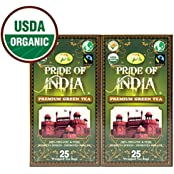 Pride Of India - Organic Green Tea, 25 Count (2-Pack)