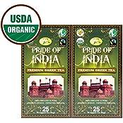 Pride Of India - Organic Green Tea, 25 Count (2-Pack)