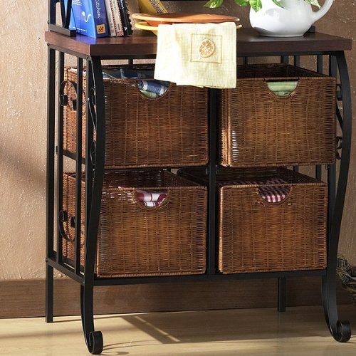 Aurora Collection Ii Black Iron Baker's Rack With 4 Wicker Drawers And 3 Shelves And Wood Work Shelf