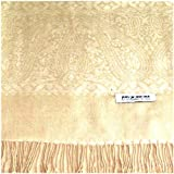 Dark Cream Karakoram Design 100% Pashmina Shawl Scarf Wrap Stole Throw