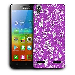 Snoogg I Love You Purple Pattern Printed Protective Phone Back Case Cover For Lenovo A6000