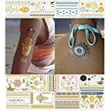 Metallic Temporary Tattoos for Girls Women Teens - 12 Sheets 150+ Gold Silver Temporary Tattoos Glitter Shimmer Tattoo Designs Jewelry Tattoos - Color Flash Fake Waterproof Tattoo Stickers (Saona)