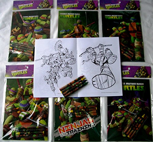 12 Sets of TMNT Teenage Mutant Ninja Turtles Coloring Books and Crayon Set Children Party Favors Bag Filler (Ninja Coloring Book Party Favors compare prices)