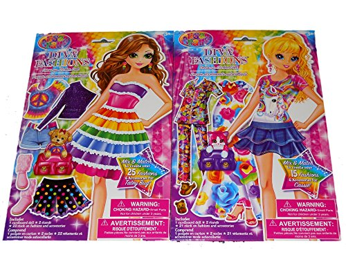 Lisa Frank Diva Fashions Dress Up Sticker Doll Set