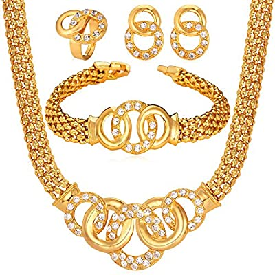 U7 Luxury Women Jewelry Set Rhinestone Gold 18k Necklace & Earrings & Bracelet & Ring