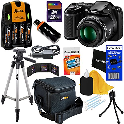 Nikon COOLPIX L340 20.2 MP Digital Camera with 28x Zoom NIKKOR Lens & Full HD 720p Video Recording – Black – International Version (No Warranty) + 4 AA High Capacity Batteries with Quick Charger + 9pc Bundle 32GB Deluxe Accessory Kit w/ HeroFiber Ultra Gentle Cleaning Cloth