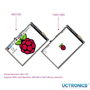 HDMI TFT LCD Mini Display with Stylus Pen for Pi 4 B 3 B+ UCTRONICS 3.5 Inch Touch Screen for Raspberry Pi 4