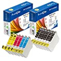 12 PK Epson 125 Compatible Ink Cartridges with New Chips ; 6 BK (T1251) , 2 Cyan (T1252) , 2 Magenta (T1253) , 2 Yellow (1254) for use in Epson Printer Models: Stylus NX125 , NX127 , NX230 , NX330 , NX420 , NX625 and WorkForce 320 , 323 , 325 , 520 . Prin
