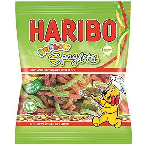 Haribo Sour Rainbow Spaghetti - 180g - Pack of 2 (180g x 2 Bags) (Candy Spaghetti compare prices)